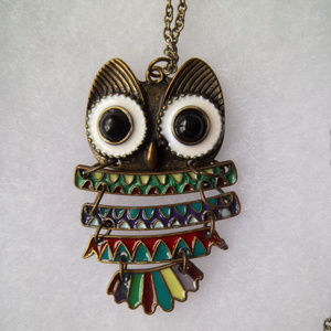 Small Copper-Tone Owl Necklace